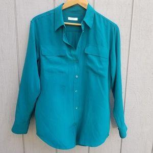 Equipment Femme Green Silk Shirt